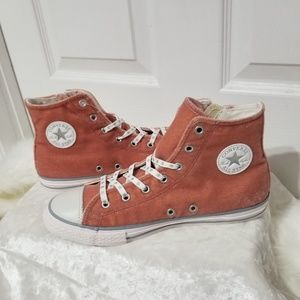 Converse Suede Mauve/Pink Sparkly High Tops B7